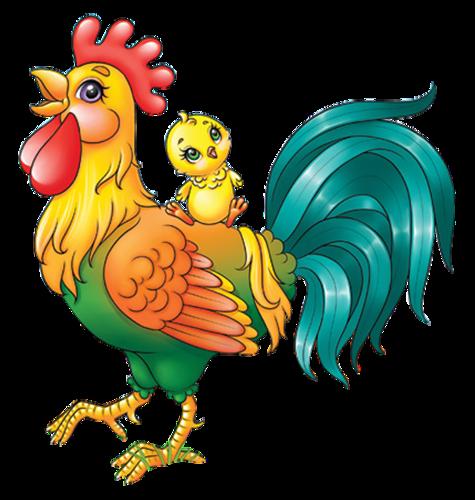 Петух с цыплёнком. Картинки с символом 2017 года