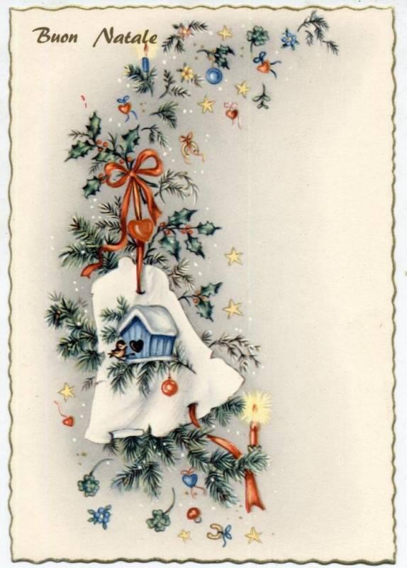 Итальянская рождественская винтажная открытка. Старинные открытки с Новым годом и Рождеством