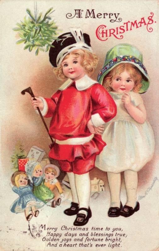 Старинная карточка со стихом на Рождество Христово