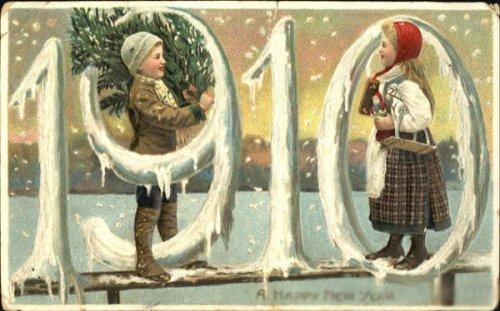 С Новым 1910 годом!. Старинные открытки с Новым годом и Рождеством