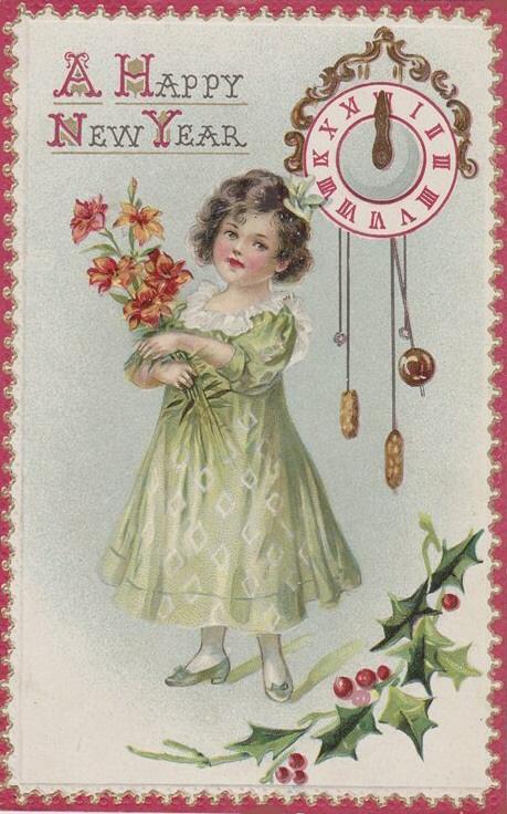 Happy New Year!. Старинные открытки с Новым годом и Рождеством