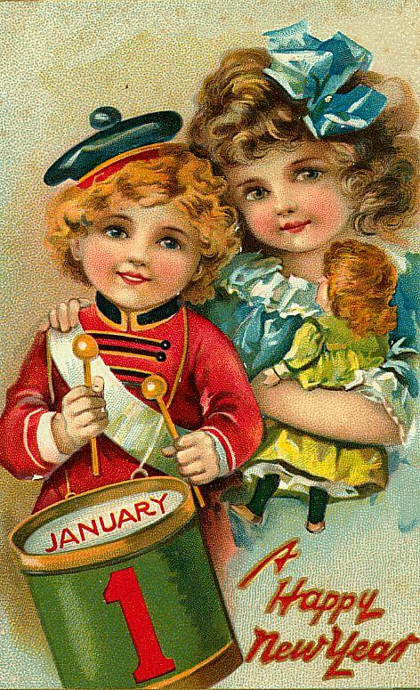 Старинная ретро открытка новогодняя