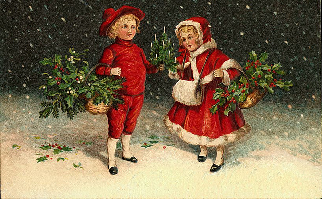 Винтажная открытка с детьми. Старинные открытки с Новым годом и Рождеством