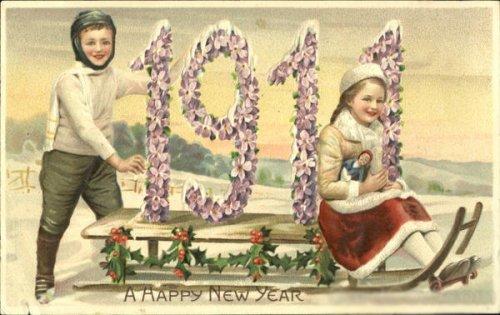 Новогодняя старинная открытка 1911 год