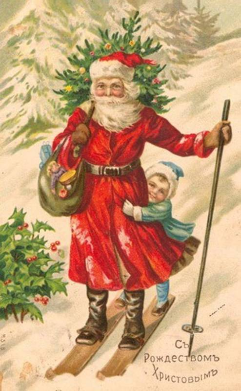 Рождественский дед и девочка. Старинные открытки с Новым годом и Рождеством