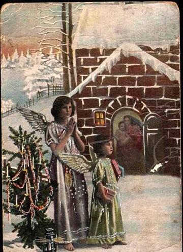 С Рождеством Христовымъ старинная открытка. Старинные открытки с Новым годом и Рождеством