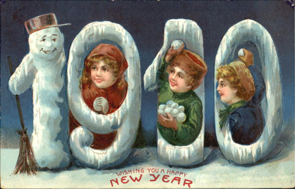 Старинные детские открытки с новым годом