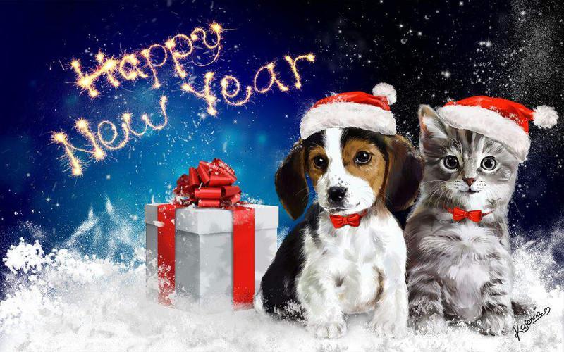Красивые новогодние картинки 2018 год собаки