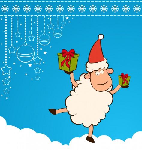 Овечка с подарком. С Новым Годом козы овцы