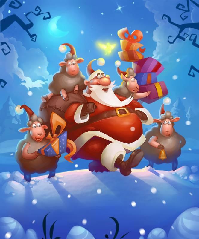 Дед Мороз с овечками. С Новым Годом козы овцы