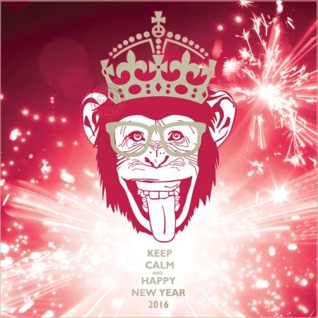 Хипстерская открытка с годом Обезьяны. С Новым Годом обезьяны 2016