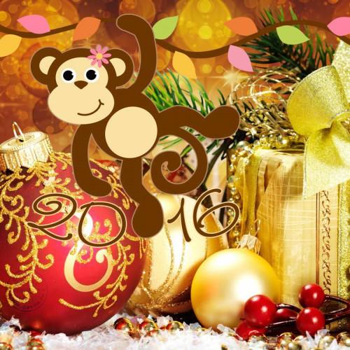 Картинка с обезьянкой 2016. С Новым Годом обезьяны 2016