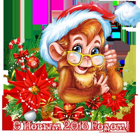 Красивая картинка обезьяна в очках С Новым годом. С Новым Годом обезьяны 2016