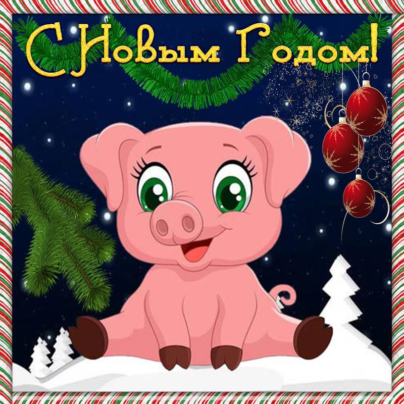 Красивая открытка со свинкой на Новый год 2019