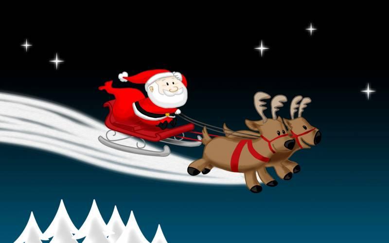 Санта спешит к нам в гости. Дед Мороз и Снегурочка картинки
