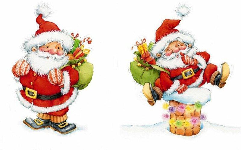 Новогодний фон для декупажа. Дед Мороз и Снегурочка картинки