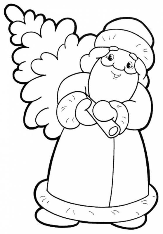 Раскраска дед Мороз и елка. Дед Мороз и Снегурочка картинки