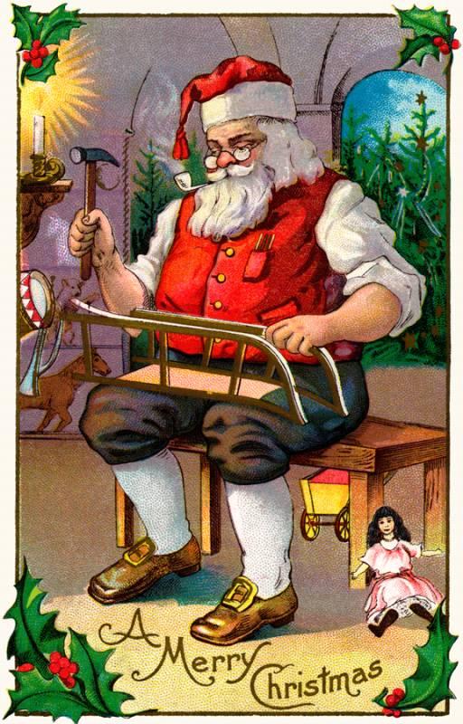 Американская рождественская открытка с Дедом Мороз. Дед Мороз и Снегурочка картинки