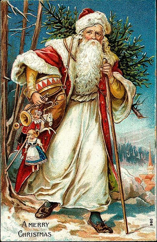 Викторианский Дед Мороз с подарками. Дед Мороз и Снегурочка картинки