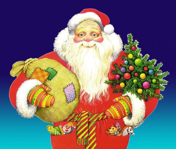Дед Мороз с ёлкой и подарками. Дед Мороз и Снегурочка картинки