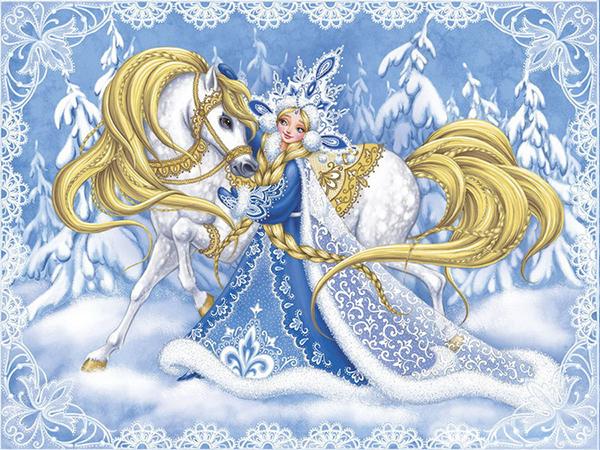 Рисунок Снегурочка. Дед Мороз и Снегурочка картинки