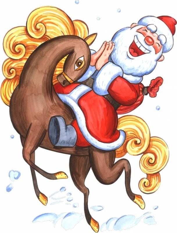 Дед Мороз на лошади. Дед Мороз и Снегурочка картинки