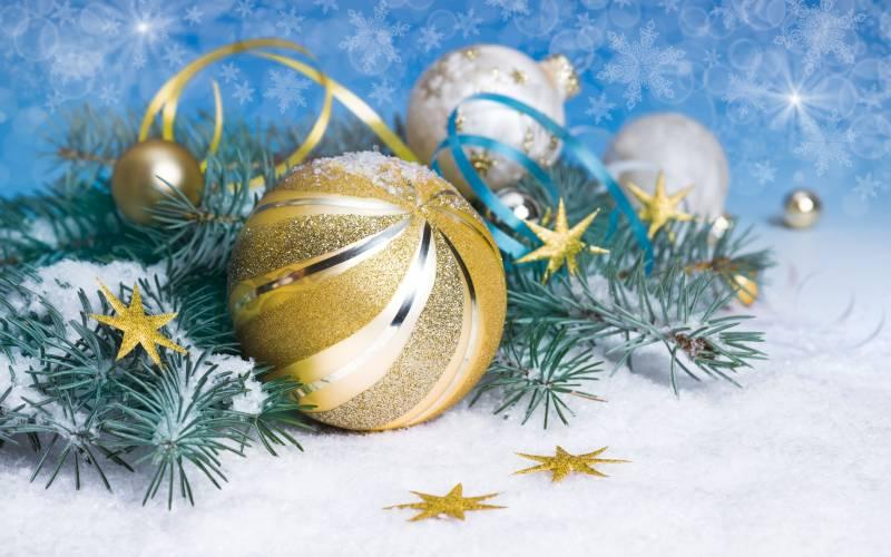 Новогодний золотистый шар. Ёлочные игрушки